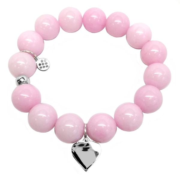 "Pink Jade Heart Silver Charm Brook 7"" Bracelet"