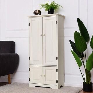 Costway Accent Storage Cabinet Adjustable Shelves Antique 2 Door Floor Cabinet White
