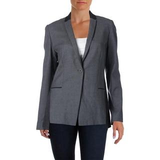 Elie Tahari Womens Lindley Wool Colorblock One-Button Blazer