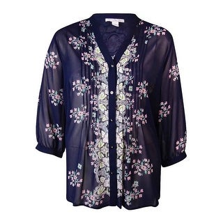 Charter Club Women's Pintucked Floral Buttoned Blouse - L