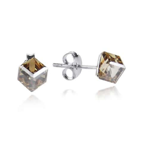 Handmade 3.5 mm Crystal Cube Sterling Silver Stud Earrings (Thailand)