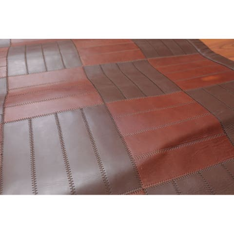 Hand Woven Rare Ultra Hip Savvy Tone on Tone Brown, Flatweave Area Rug 100%Leather Traditional Oriental Area Rug (4x6)