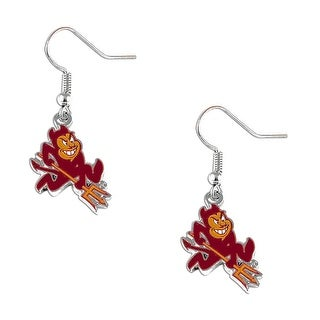 "Arizona State Sun Devils Silver Dangle ""Sparky"" Logo Earring Set NCAA Charm Gift"
