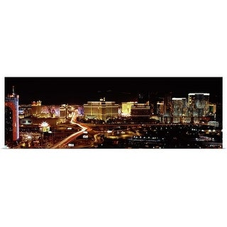 """City lit up at night Las Vegas Nevada"" Poster Print"