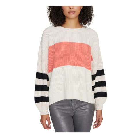SANCTUARY Womens Pink Color Block Long Sleeve Sweater Size L