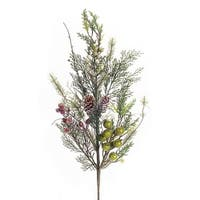 """Pack of 12 Beautiful and Elegant Frosted Pine and Berries Sprays 29""""H - Green"""