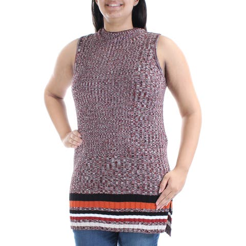 INC Womens Orange Sleeveless Turtle Neck Sweater Size: L