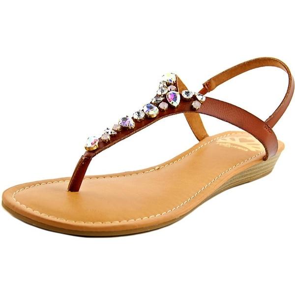 Fergalicious Tasso Women Open-Toe Leather Tan Slingback Sandal