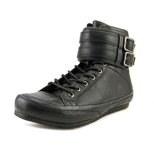 Aldo Louis Men Round Toe Leather Black Sneakers
