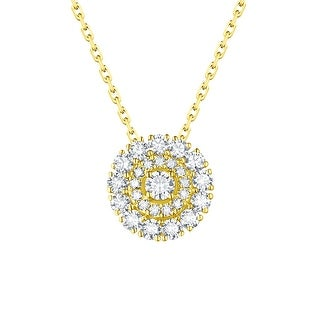 Prism Jewel 0.69Ct Natural G-H/SI1 Diamond Round Cluster Pendant with Chain - White