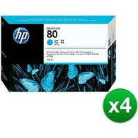 HP 80 175-ml Cyan DesignJet Ink Cartridge (C4872A) (4-Pack)