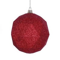 Vickerman  8 in. Red Glitter Geometric Christmas Ornament Ball