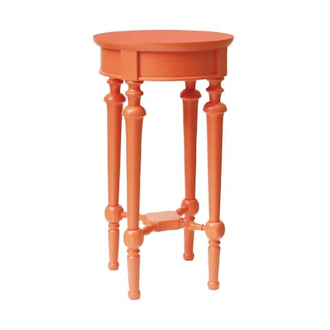 """29"""" Orange Handcrafted Wooden Round Side Table"""