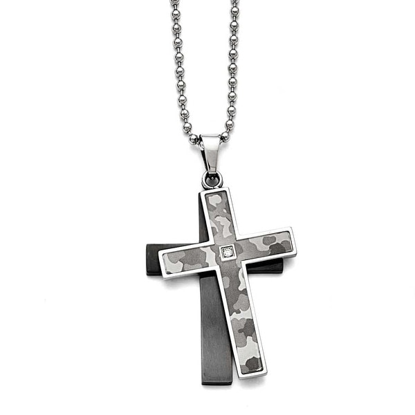 Chisel Stainless Steel Polished Black IP-plated 0.02ct. Diamond Necklace - 24 in
