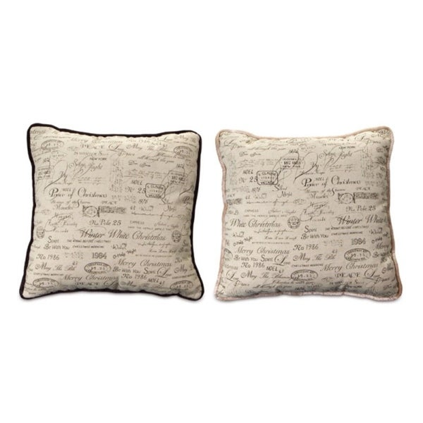 Set of 2 Beige and Black Square Christmas Pillows 15""
