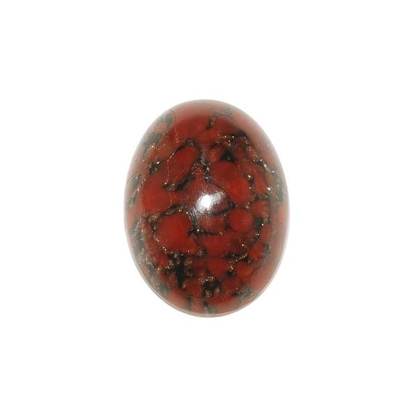 Red Black Marble W/ Copper Glass Cabochon 18x13mm Oval (1)