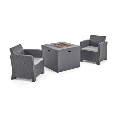 Houston Outdoor 2-Seater Wicker Print Club Chair Chat Set with Fire Pit by Christopher Knight Home