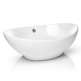 "23"" x 15"" Oval White Ceramic Vessel Sink Modern Vanity Bowl- Miligore"