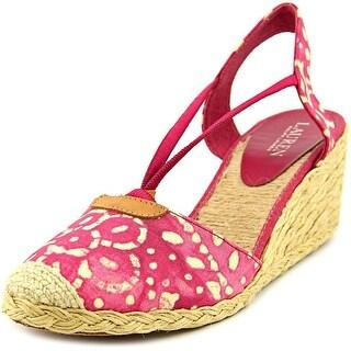 Lauren Ralph Lauren Cala Women Open Toe Canvas Pink Wedge Heel