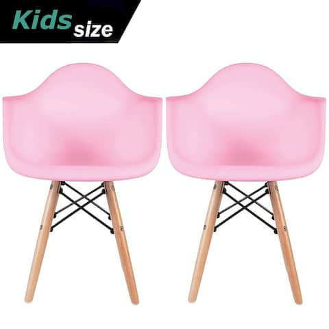 Set of 2 Kids Toddler Armchair Natural Wood legs For Children Child Preschool Kitchen Dining Home Living Room Play