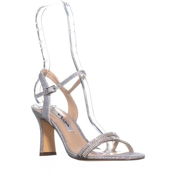 Nina Avalon Ankle Strap Slim Sandals, Silver Dreamland