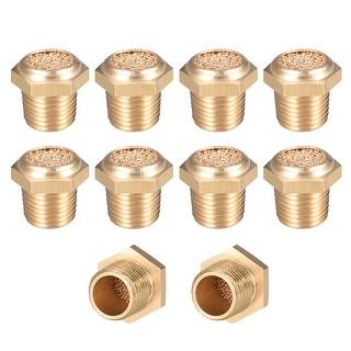 """Brass Exhaust Muffler, 1/8"""" G Male Thread Bronze Muffler w Brass Body Flat 10pcs - 1/8"""" G 10pcs"""