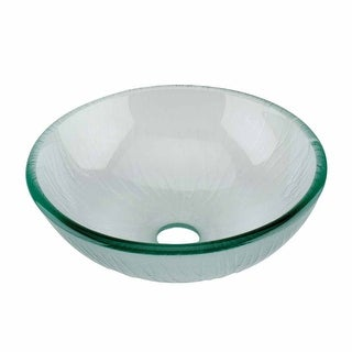 Mini Tempered Glass Vessel Sink with Drain, Frosted Green Textured Bowl Sink