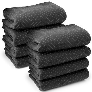 """8 Moving Blankets Furniture Pads - Ultra Thick Pro - 80"""" x 72"""" Black"""