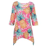 Women's Summer Fruit Tunic Top - Pineapple Print 3/4 Sleeve Shirt