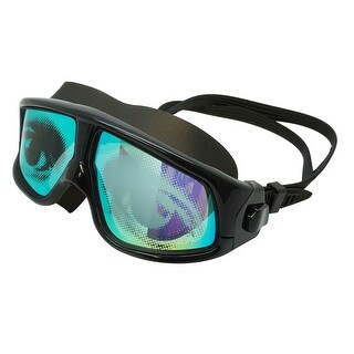 Adult Black Swim Mask With UV Mirror Anti-Fog Coated Lenses & Eye Graphics