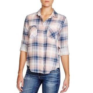 Aqua Womens Button-Down Top Flannel Tencel