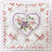 "Stamped White Quilt Blocks 18""X18"" 6/Pkg-Lilac Hearts"