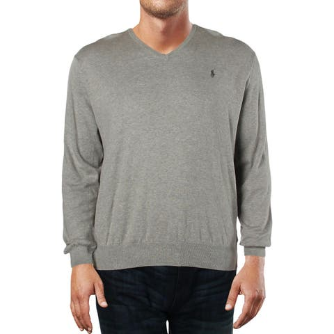 Polo Ralph Lauren Mens V-Neck Sweater Heathered Long Sleeves