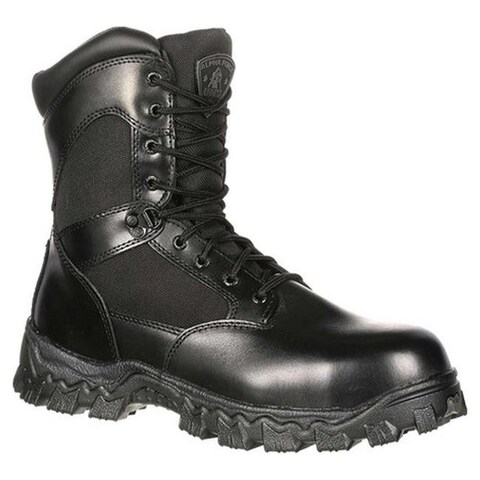 "Rocky Men's 8"" AlphaForce Zipper 2173 Black Leather"