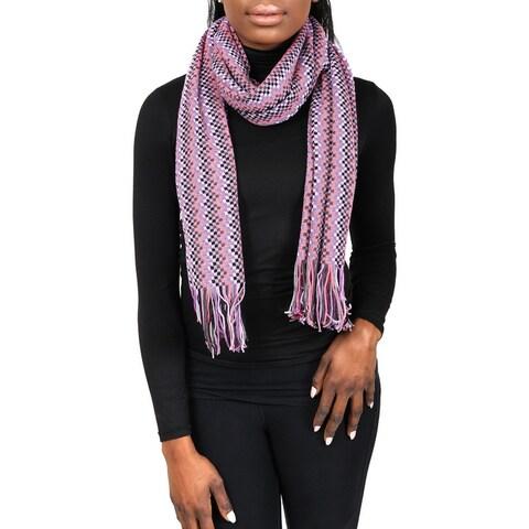 Missoni D4898 Wool Blend Crochet Knit Zigzag Scarf