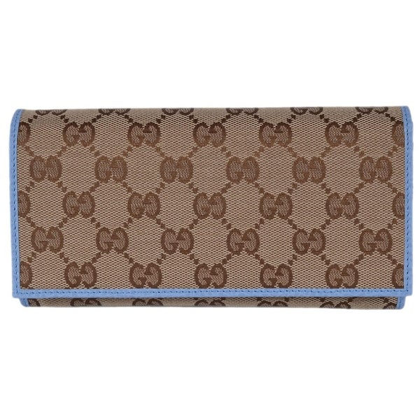 4c0fda1be2f1 Gucci Women's 346058 Beige Blue Canvas Leather Continental Bifold  Wallet - 7.5