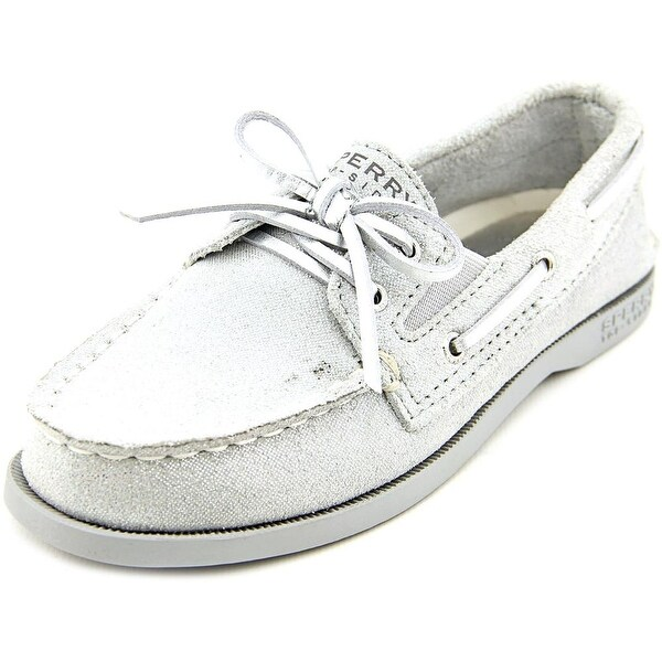 Sperry Top Sider A/O Slip On Youth Moc Toe Suede Silver Boat Shoe