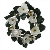 26 in. White Magnolia Flower And Leaves Artificial Silk Floral Wreath