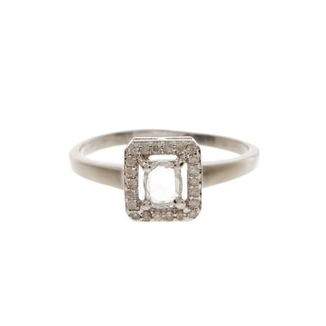 14K Gold cushion cut Diamond Ring With White Polish