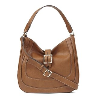 Nine West Womens The Lush Life Faux Leather Convertible Hobo Handbag - Tobacco - Medium