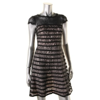 Adrianna Papell Womens Petites Eyelash Lace Overlay Cocktail Dress