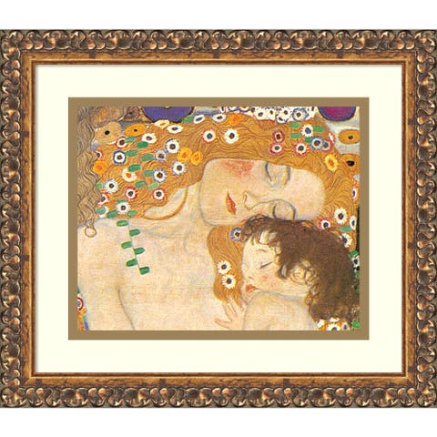 Framed Art Print 'Three Ages of Woman - Mother and Child (Detail IV), 1905' by Gustav Klimt 15 x 13-inch