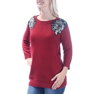 CABLE AND GAUGE Red Jewel Neck 3/4 Sleeve Sweater S B+B