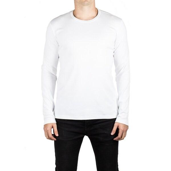 616efbd495c Shop Prada Men s Jersey Cotton Round Neck Logo Long Sleeve T-Shirt White -  Free Shipping Today - Overstock - 14798717