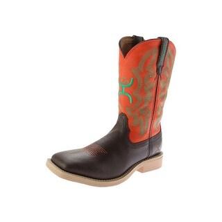 HOOey Western Boots Boys Girls Cowkids Logo Chocolate Orange YHY0007