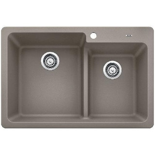 "Blanco 442090 Grandis 33"" Double Basin Drop In or Undermount Granite Composite Kitchen Sink with 60/40 Split"