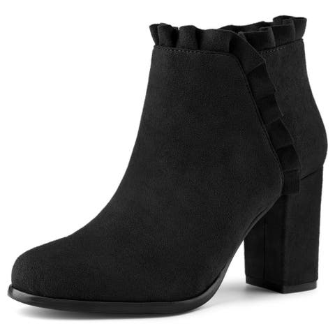 Women's Ruffle Block Heel Ankle Boots
