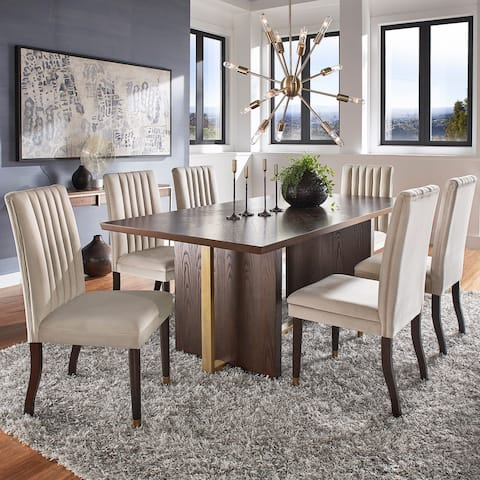 Andrea Espresso and Velvet 7-Piece Dining Set by iNSPIRE Q Modern