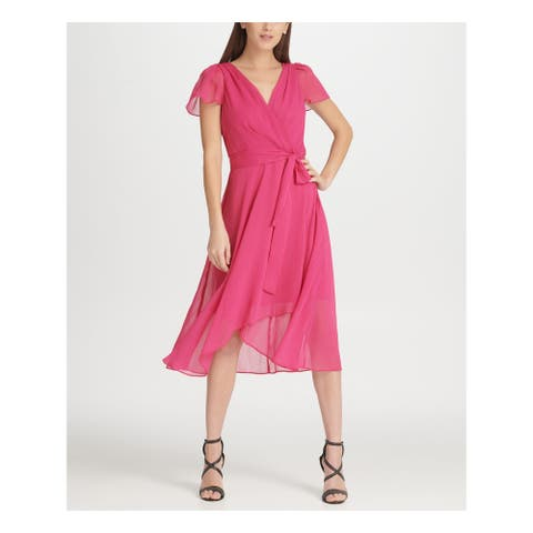 DKNY Pink Short Sleeve Tea-Length Dress 14
