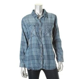 Rails Womens Tencel Plaid Denim Shirt - M
